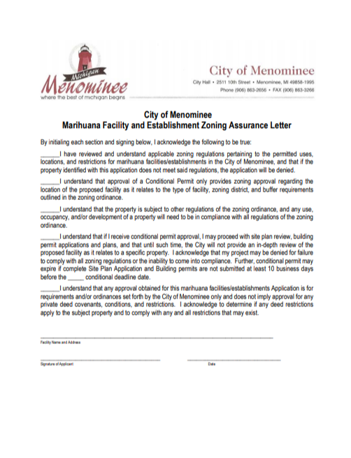 Process to Apply for City of Menominee Marihuana and Establishment Permit